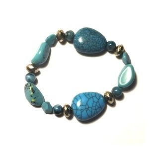 Turquoise and Silver Bead Stretch Bracelet